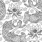 Vector naadloos patroon met de karper en de lotusbloem van overzichtskoi of waterlelie in zwarte op de witte achtergrond Japanse  Royalty-vrije Stock Fotografie
