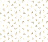 Vector Naadloos patroon met de tekens van de horoscoopdierenriem Stock Foto