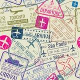 Vector naadloos patroon met de zegels van het paspoortvisum stock illustratie