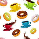 Vector naadloos patroon met donuts en koffie Stock Afbeelding