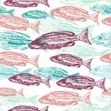 Vector naadloos patroon met druk van vissen op witte achtergrond Stock Foto's