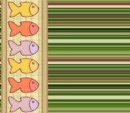 Vector naadloos patroon met genaaid op de doekvissen royalty-vrije illustratie