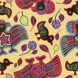 Vector Naadloos Patroon met Gestileerde Vogels in Mola Style Stock Afbeelding