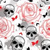 Vector naadloos patroon met gestippelde schedel, open rozen, pijlen, vlinders en vlekken in rood en zwart en grijs op het wit Stock Afbeelding