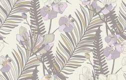 Vector Naadloos Patroon met Getrokken Bloemen en Bladeren Royalty-vrije Stock Afbeeldingen
