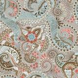 Vector naadloos patroon met grote decoratieve bloemen Blauw en bruin bloemenbehang royalty-vrije illustratie