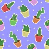 Vector naadloos patroon met hand die ingemaakte cactus trekken op blauwe achtergrond royalty-vrije stock afbeeldingen