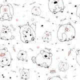 Vector naadloos patroon met hand-drawn grappige leuke vette dieren Silhouetten van dieren op een witte achtergrond Prettextuur wi vector illustratie