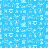 Vector naadloos patroon met hand getrokken bedrijfskrabbelpictogrammen Stock Fotografie