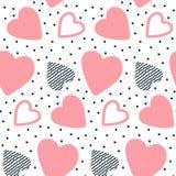 Vector naadloos patroon met hand getrokken harten Royalty-vrije Stock Foto's