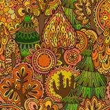 Vector naadloos patroon met hand getrokken krabbelbomen Royalty-vrije Stock Foto's