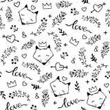 Vector naadloos patroon met hand getrokken leuke vossen dat op w wordt geïsoleerd royalty-vrije illustratie