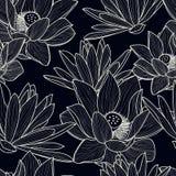 Vector naadloos patroon met hand getrokken mooie lotusbloembloem stock illustratie