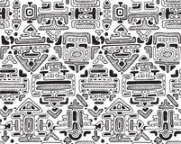 Vector naadloos patroon met hand getrokken ornament maya Stock Foto's