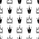 Vector naadloos patroon met hand getrokken silhouetten van kronen royalty-vrije illustratie