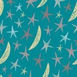 Vector naadloos patroon met hand getrokken sterren en manen Eindeloze blauwe achtergrond Royalty-vrije Stock Afbeeldingen