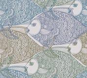 Vector Naadloos patroon met hand getrokken vissen royalty-vrije illustratie