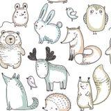Vector naadloos patroon met hand getrokken wilde bosdieren, stock illustratie