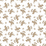 Vector naadloos patroon met handrawn het van letters voorzien stock illustratie