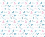 Vector naadloos patroon met harten en tekst Royalty-vrije Stock Foto