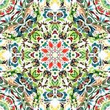 Vector naadloos patroon met helder bloemenornament Uitstekend ontwerpelement in Oostelijke stijl Sierkanttracery Stock Fotografie