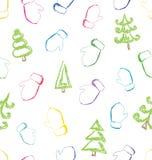 Vector naadloos patroon met het schetsen van vuisthandschoenen en Kerstmis tre stock illustratie
