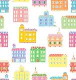 Vector Naadloos patroon met huizen royalty-vrije illustratie
