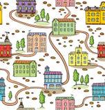 Vector naadloos patroon met huizen en bomen stock illustratie