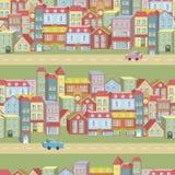 Vector naadloos patroon met huizen en wegen Stock Afbeelding