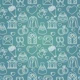 Vector naadloos patroon met huwelijkspictogrammen Royalty-vrije Stock Foto's