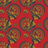 Vector naadloos patroon met Indisch ornament Turkse komkommer Paisley en mandala Moderne abstracte stijl, Indiër, Arabisch, Islam Royalty-vrije Stock Foto's