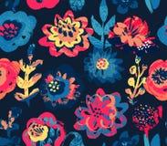 Vector naadloos patroon met installaties, bladeren en bloemboeketten met hand geschilderde textuur royalty-vrije illustratie