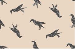 Vector naadloos patroon met Japanse de vogelssilhouetten van de origami zwarte lineaire raaf Stock Fotografie