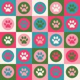 Vector naadloos patroon met kat of hondvoetafdrukken Leuke colorfu Stock Fotografie