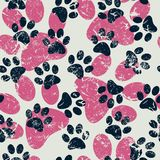 Vector naadloos patroon met kat of hondvoetafdrukken Leuke colorfu Royalty-vrije Stock Foto