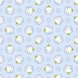 Vector naadloos patroon met katoenen installatie op blauwe achtergrond vector illustratie