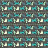 Vector naadloos patroon met katten Royalty-vrije Illustratie