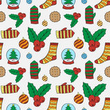 Vector naadloos patroon met Kerstmis Stock Foto's