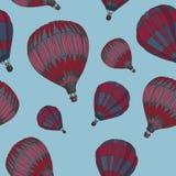 Vector naadloos patroon met kleurrijke aerostaten Stock Fotografie