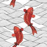 Vector naadloos patroon met koikarpers en golven op een witte achtergrond De tekening van de hand Decoratieve achtergrond stock illustratie