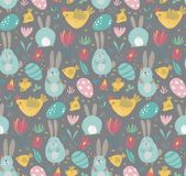 Vector naadloos patroon met konijnen, kip en bloemen stock illustratie