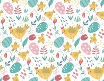 Vector naadloos patroon met konijnen, kip en bloemen royalty-vrije illustratie