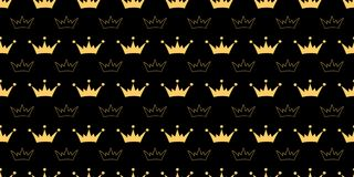 Vector naadloos patroon met kronen van prinses, koningin, feeën royalty-vrije illustratie