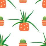 Vector naadloos patroon met leuk groen cactussen en aloë Huisinstallaties in potten Bloemenpictogrammen in een vlakke stijl royalty-vrije illustratie