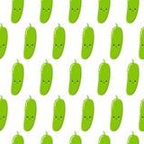 Vector naadloos patroon met leuke beeldverhaalkomkommers op witte achtergrond Vector plantaardige emoticon Kawaiistijl vector illustratie