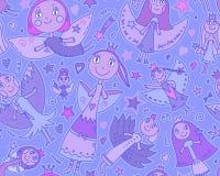 Vector naadloos patroon met leuke feeën in kinderen het trekken Stock Foto