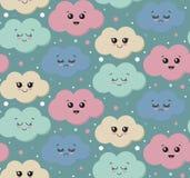 Vector naadloos patroon met leuke het glimlachen kleurrijke wolken stock illustratie