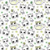 Vector naadloos patroon met leuke katjes op witte achtergrond stock foto