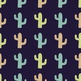 Vector naadloos patroon met leuke kleurrijke cactussen Stock Afbeelding