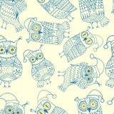 Vector naadloos patroon met leuke uilen Royalty-vrije Stock Afbeelding